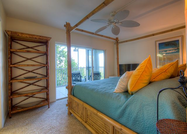 Master bedroom with screened lanai overlooking Gulf of Mexico