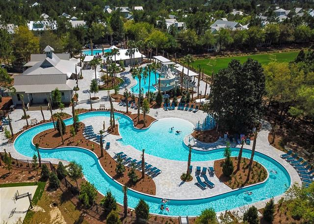 Camp WaterColor waterpark includes a lazy river!