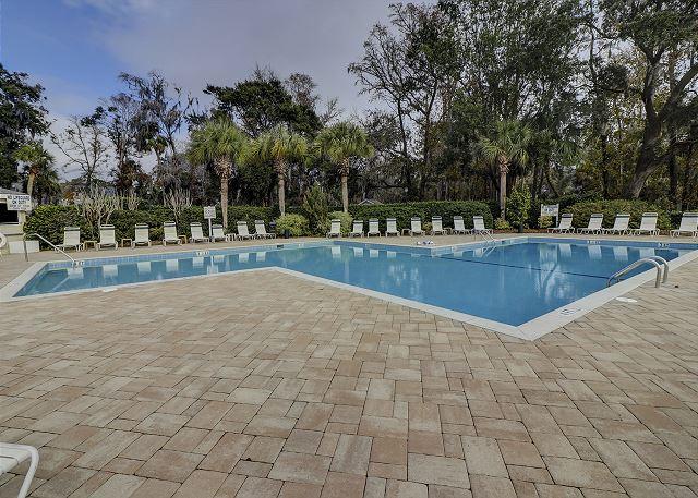 Evian 240 - Sunny onsite Pool measures 22' x 66' - HiltonHeadRentals.com