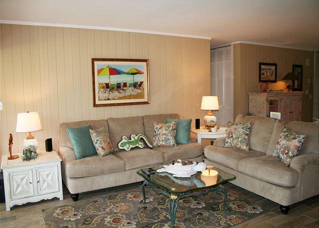 Fairway Lane 71 - Living Room with Flat Screen TV - HiltonHeadRentals.com