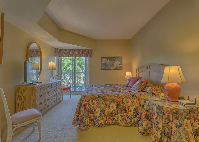 Barrington Court 210 - Master Bedroom with King Bed, TV & Private Bath - HiltonHeadRentals.com