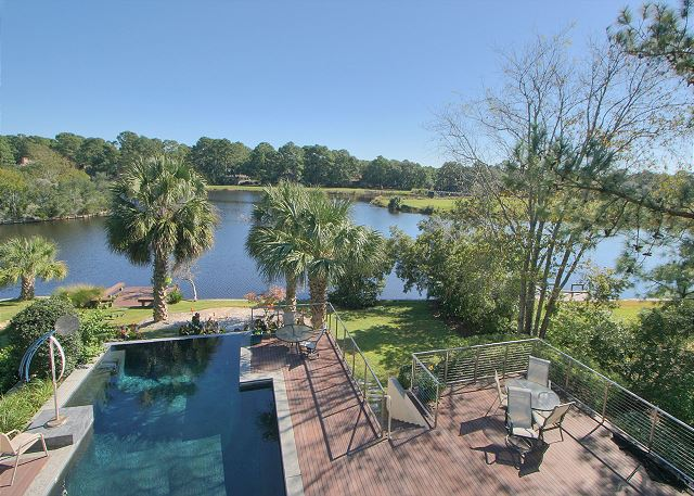 Full Sweep 16 - Private Pool measures 15' x 30' & can be heated for a fee - HiltonHeadRentals.com