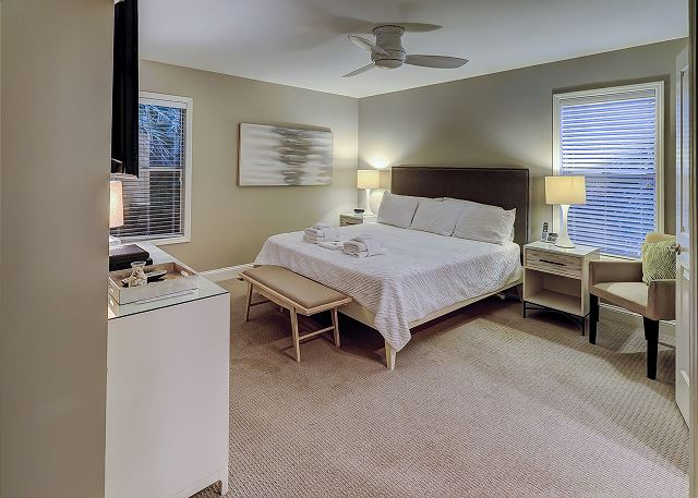 Sandpiper 30 - Master Bedroom with Flat Screen TV & Private Bath - HiltonHeadRentals.com
