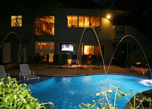 Pool at Night with Flatscreen TV