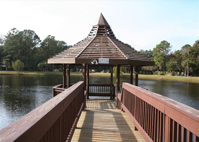 Gazebo overlooks 5 Acre Lake