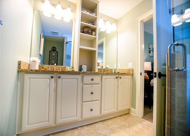 Master Bath with Double Sinks & Glass Shower