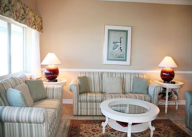 Ocean Front Living Room with  Flat Screen TV & Sleep Sofa