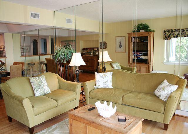 Oceanfront Living Room with Flat Screen TV