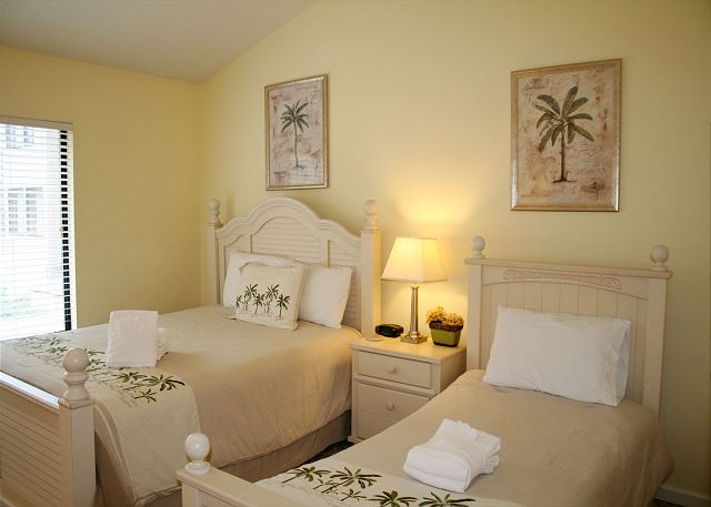 Bedroom 2 with Queen & Twin bed, Flat Screen & Hall Bath