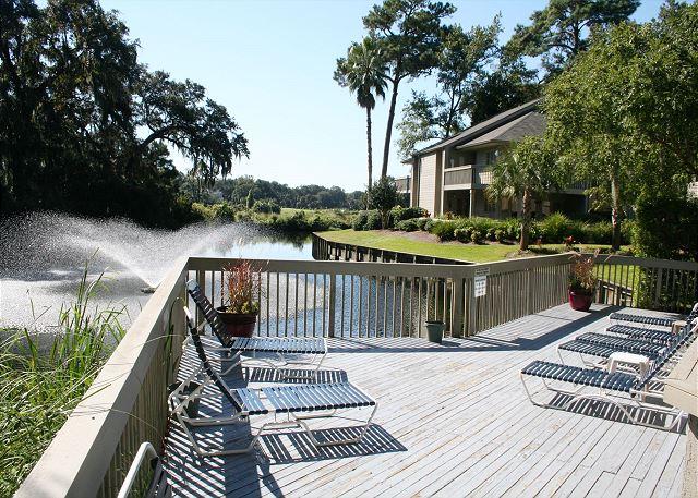 Poolside Sun Deck overlooks Lagoon