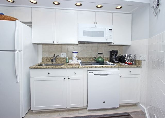 Kitchen with Refrigerator, Dishwasher & Microwave