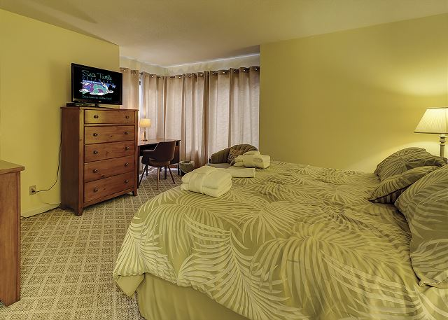 Beachwalk 204 - Master Bedroom with Flat Screen TV & Private Bath - HiltonHeadRentals.com