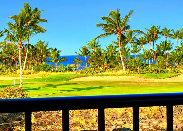 Westerly view from Villa 23 lanai - Actual photo zoomed over 13 fairway.