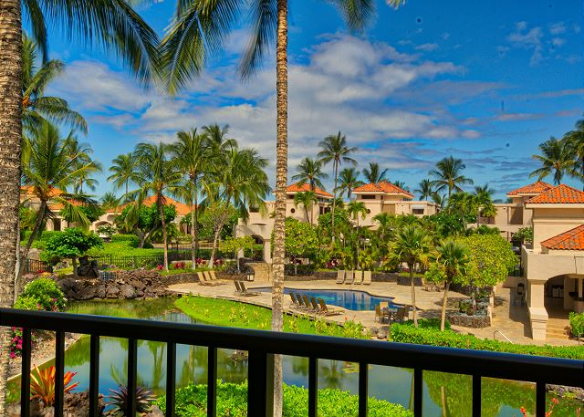 Great resort location - second floor, end unit and beautiful views. Photo from 213 lanai - western exposure.