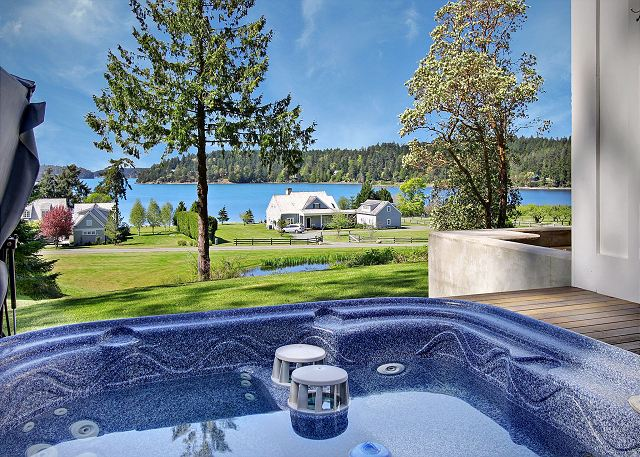 Relax in the hot tub and take in the views of Westcott Bay