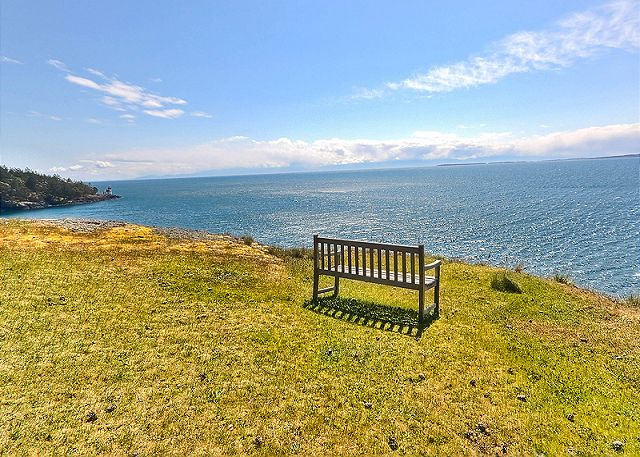 Whale Watch Point is perched high on a bluff looking out to Haro Strait on the coveted West side of San Juan Island.