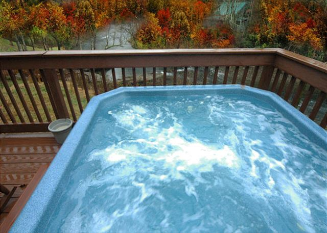 Hot tub on River... Relaxing