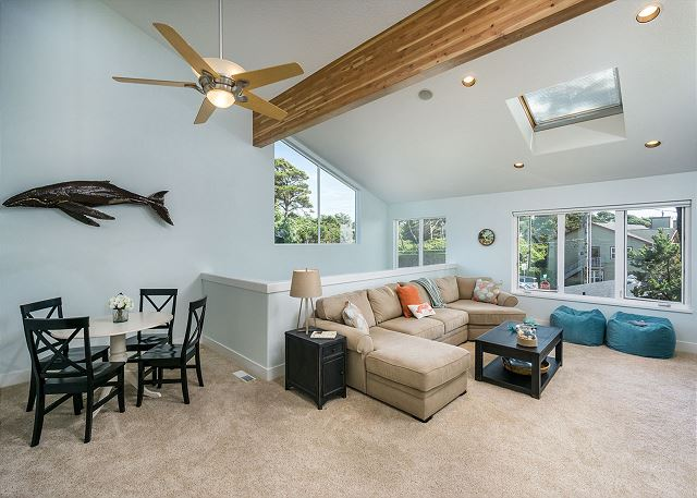 Spacious upstairs family room with game table (bring your own games or choose from the home's selection)