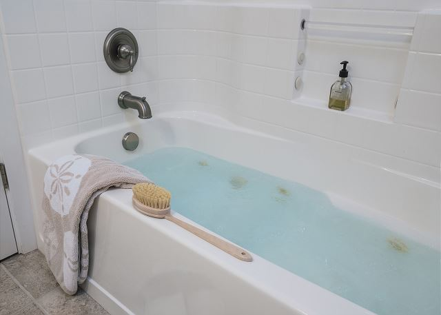 Luxurious jetted tub in the master bath