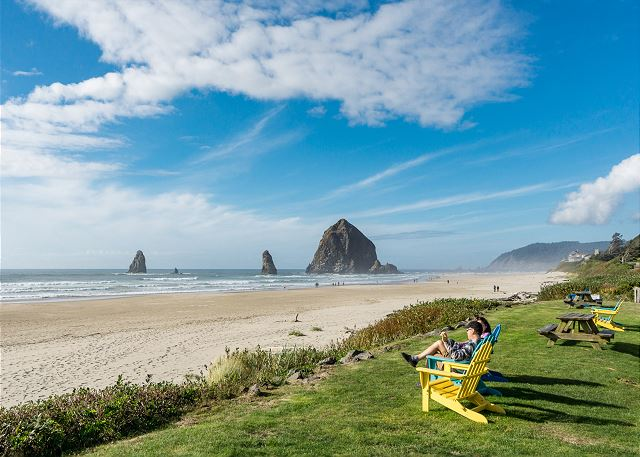 Nearby beach scene.  Haystack Rock and downtown Cannon Beach are a short drive away