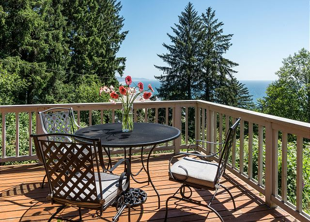 Lovely ocean views from large wrap around deck