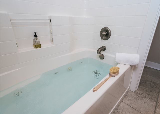 Relax in the luxurious jetted tub in the master bath