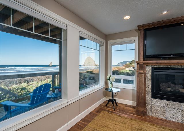 Light and airy living room with coveted Haystack Rock views