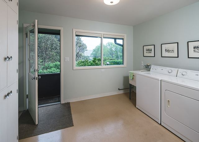 It's not often a laundry room has such lovely views and so much space