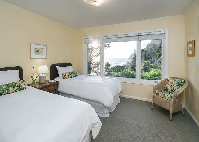 Twin bedroom provides amazing Neahkahnie view and is adjacent to jack and jill bathroom