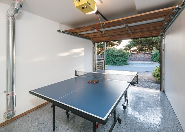 Sharpen your ping pong game here in the finished garage!