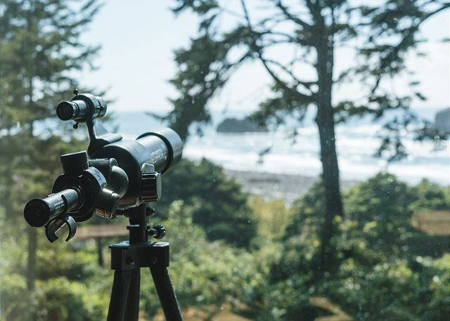 The high powered telescope will allow you and your guests to catch the whales and Bald Eagles often seen here