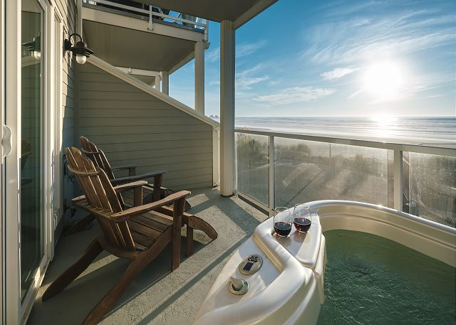 Second floor balcony with hot tub and southerly ocean view