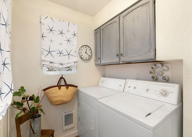 The full sized laundry room comes with detergent supplied