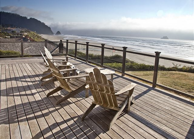 Large furnished deck for taking in sunsets while sipping a glass of wine