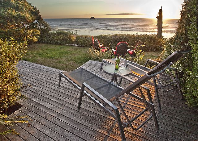 Perched on a bluff, take in the ocean views with Castle Rock in the background