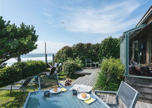 Dine outdoors in the fresh ocean air right on your own private deck