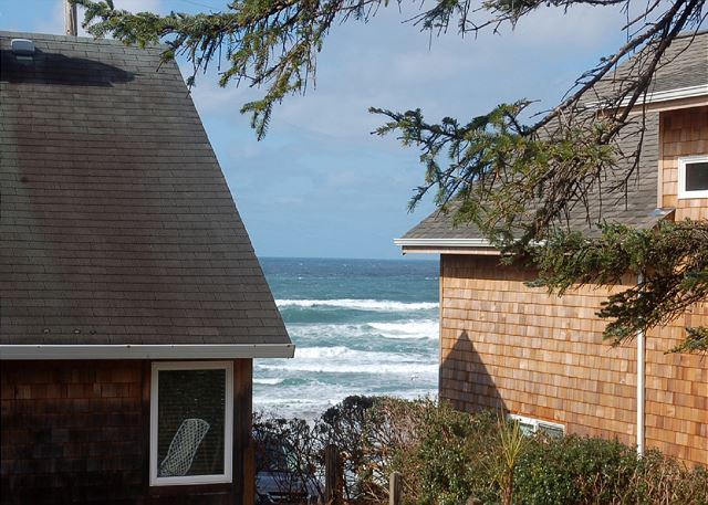 View the ocean waves through the dining room windows