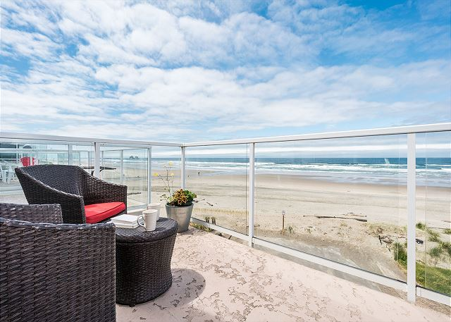 Two balconies provide 180 degree stunning ocean views.  Gas grill is located on top balcony.