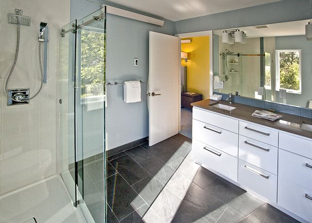 Luxurious master bath with large walk-in shower.