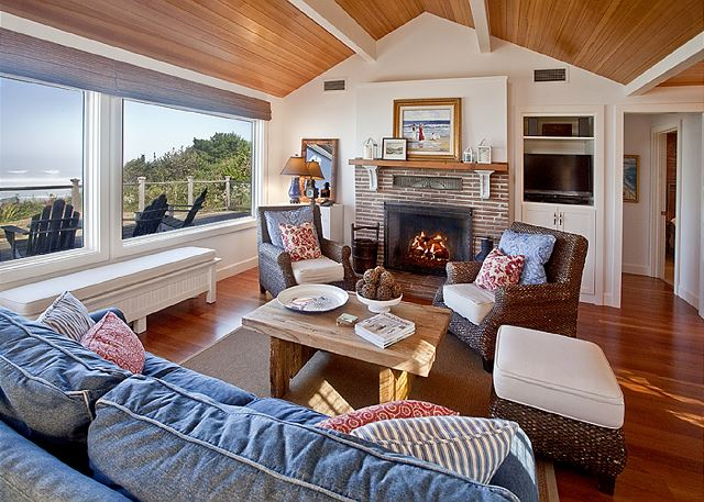 Fireplace for cozy fires (burns Duraflame logs).  Cable-equipped TV with DVD for watching your favorite TV show or movie.