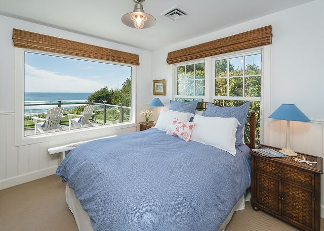 Front bedroom with queen bed - what a view to wake up to!