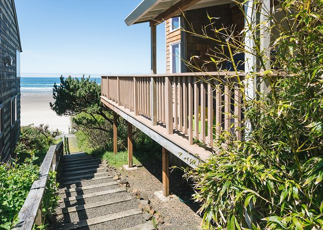 Top of stairs leading to the beach - located on the side of the house