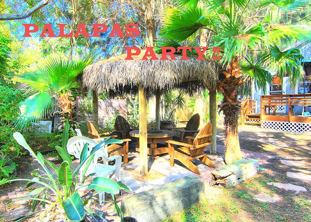 The backyard makes a big splash luring everyone out to enjoy the lush and shady space! The Palapa is lighted adding to the exotic ambiance and has an electrical outlet for music or extra lighting!
