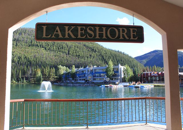 View of Keystone Lake as you walk past the Lakeshore building.