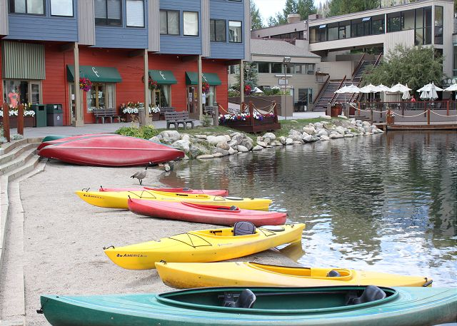 Canoes for rent at Keystone Lake.