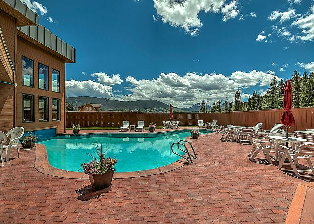 Shared pool features stunning views.
