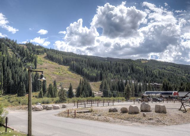 View of high-speed gondola that is a short walk from the patio.