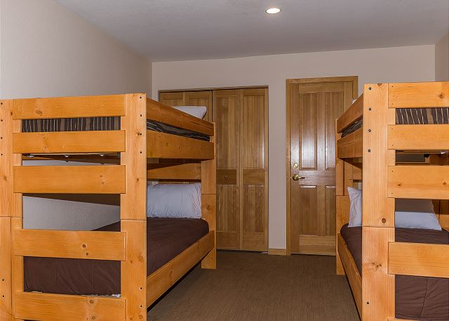 The upstairs loft sleeps six with a queen-sized sleeper sofa and two twin-sized bunk beds.