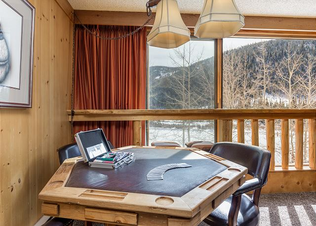 Enjoy a game night with family and friends with beautiful mountain views.
