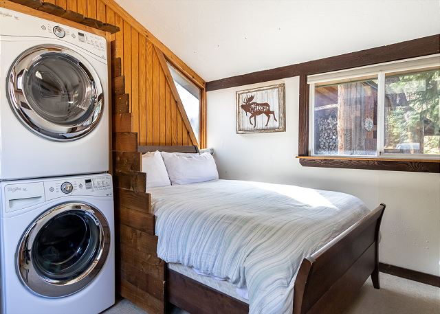 First bedroom and laundry area